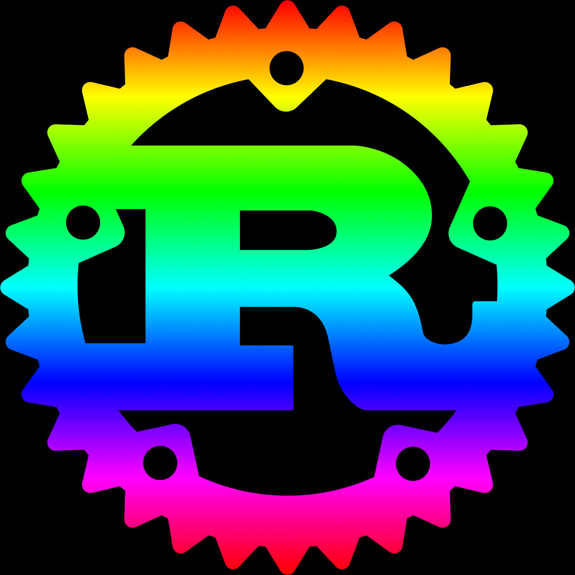 Rust logo with rainbow.